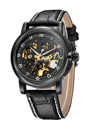 Carrie Hughes Men's Steampunk Skeleton Mechanical Stainless Steel Automatic Watch Leather Black CH25 (CH25B)