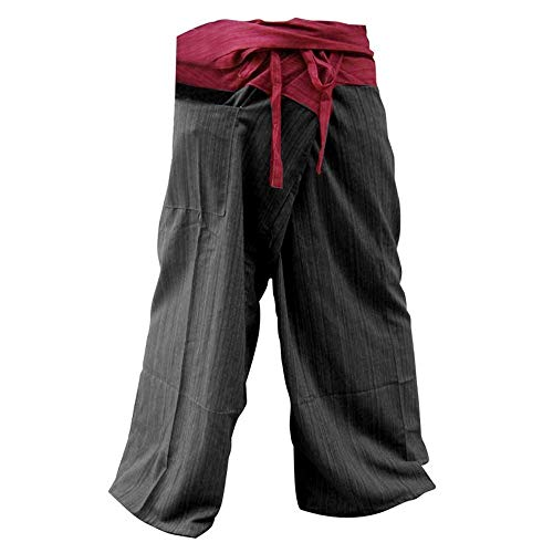 (Unisex 2 Tone Thai Fisherman Pants Yoga Trousers Free Size Cotton Red and Black)