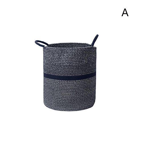 TSAR003 Europe And The United States Simple Cotton Wash Laundry Hamper Or Basket Dirty Clothes Toys Storage Laundry Hamper Or Basket , Navy Blue , A by TSAR003