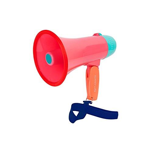 Sunnylife Lifesaver Plastic Mini Megaphone - Battery Power Megaphone for Kids or Adults - Watermelon Coral, -