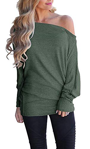 - GOLDSTITCH Women's Off Shoulder Batwing Sleeve Loose Pullover Sweater Knit Jumper Oversized Tunics Top