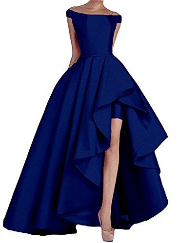 Homdor High Low Off The Shoulder Prom Dresses Long Satin Evening Formal Gowns