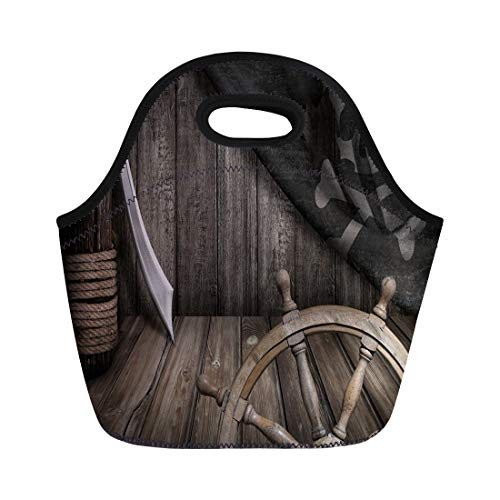Semtomn Lunch Bags Black Sword Pirates Ship Steering Wheel Old Jolly Roger Neoprene Lunch Bag Lunchbox Tote Bag Portable Picnic Bag Cooler Bag
