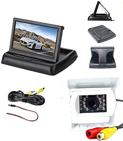 "4.3/"" LCD Foldable Car Rear View Monitor Backup Camera IR Night Vision Wired Kit"