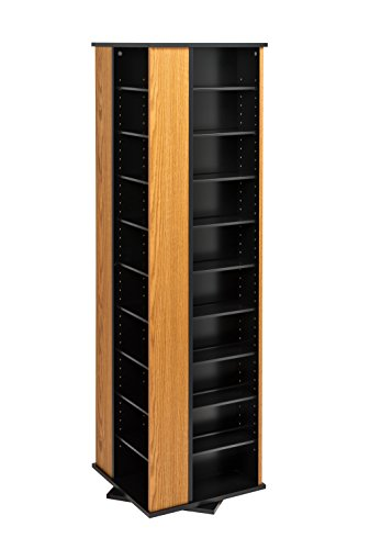 Oak & Black Large 4-Sided Spinning Tower (Prepac Large Four)