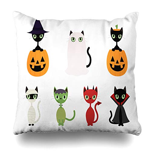 Suesoso Decorative Pillows Case 18 X 18 Inch Black Cats in Halloween CostumesThrow Pillowcover Cushion Decorative Home Decor Nice Gift Garden Sofa Bed Car]()