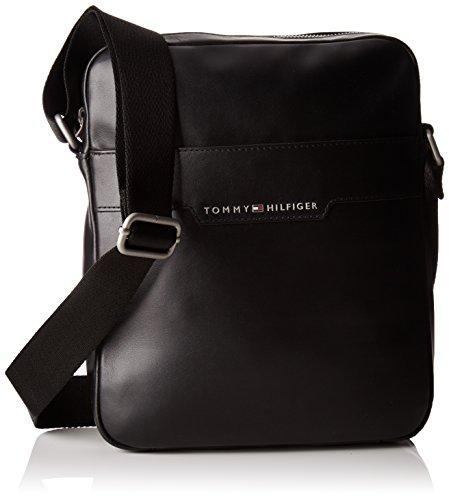 Tommy Hilfiger Herren Smooth Leather Slim Reporter Tasche, Schwarz (Black), 5x28x23 cm