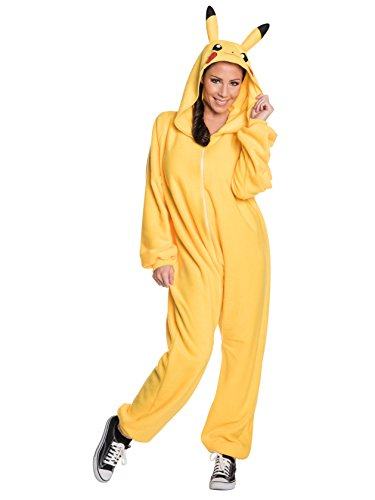 Pokemon Mens Pikachu Hooded Jumpsuit, X-Large, Chest 44-46