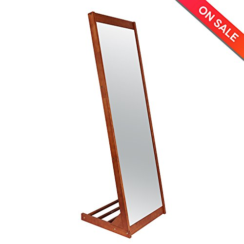 LCH Modern Pine Wood Frame Floor Dressing Mirror, Large Door Mirror 18 x 55-inch(Coffee) by HLC