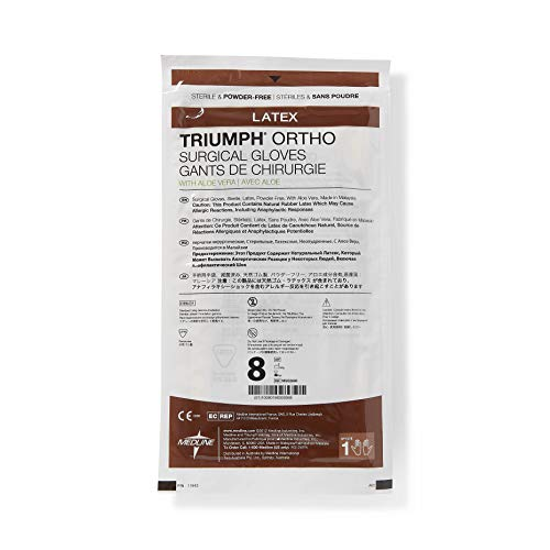 Medline MSG2680 Triumph Ortho with Aloe Sterile and Powder-Free Latex Surgical Glove, Size 8, Brown (Pack of 200) by Medline (Image #2)