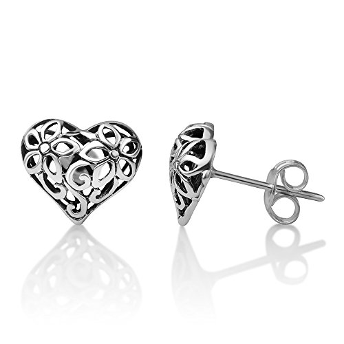 (925 Sterling Silver Bali Inspired Filigree Flower Puffed Heart-Shaped Post Stud Earrings 11x17 mm)