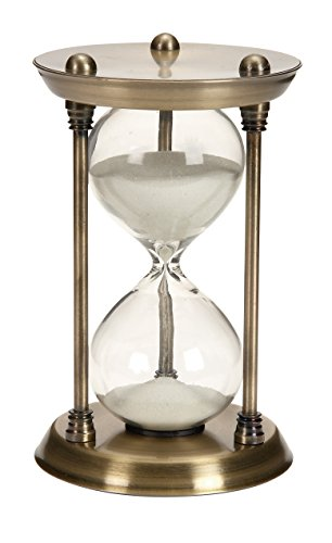 Deco 79 Metal/Glass Quarter Hourglass with 15 Minutes Time Interval (Large Hourglass)