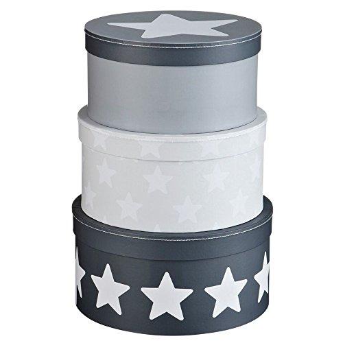 Kids Concept 310838 Pappboxen rund 3-Set, Star grau