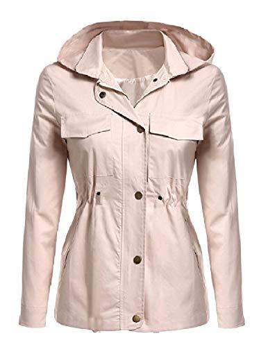 Mogogo Womens Fall Winter Rain Jacket Cotton Hoodie Windproof Anorak Khaki