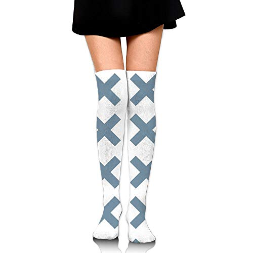 HFJDLSK Knee Long Socks Tube Thigh-High Sock Stockings - Blue Cross (2300) Print for Girls & Womens