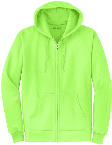 (Joe's USA Full Zipper Hoodies - Hooded Sweatshirt Electric Neon Hot  Neon Green , 3X)