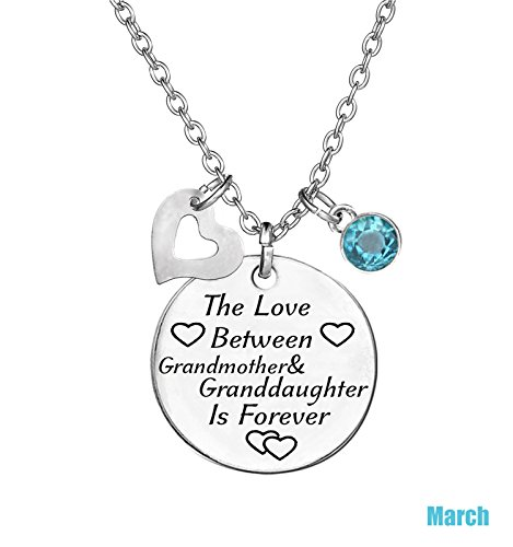 TISDA Birthstone Crystals Necklace,The Love between Grandmother and Granddaughter is Forever Necklace Family Jewelry Christmas Gift (March)