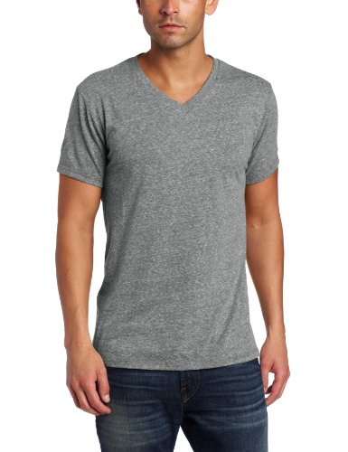 Threads 4 Thought Men's Triblend V-Neck Tee, Heather Grey -