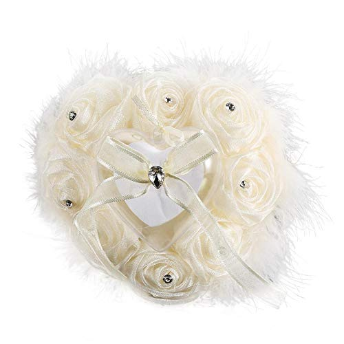 - Lightweight Rose Flower Buds Heart-Shaped Ring Pillow Feather for Wedding Accessory (Cream)