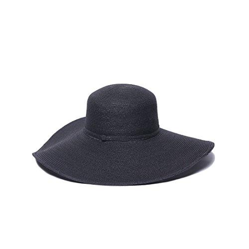 Physician Endorsed Women's Sophia Toyo Braid Lg Brim Floppy Sun Hat, Rated UPF 50+ for Max Sun Protection, Black, Adjustable Head - Braid Toyo Hat Wide