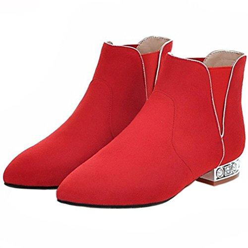 ENMAYER Damen Pleuche Material Keil Blockabsatz Spitzschuh Slip auf Ankel Stiefel Rot2