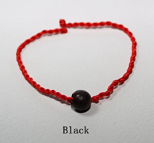 Handmade Red String Bracelet with Good for Prosperity and Success, Kabbalah Red String Bracelet R-11 (Black)