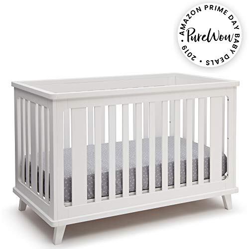 Delta Children Ava 3-in-1 Convertible Baby Crib, White (Child Of Mine Crib And Changing Table)