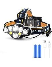 Aokebeey Stirnlampen LED wiederaufladbar Headlight Running wasserdicht 8 LED Kopfleuchte mit 8 Lichtmodi pefeckt für Laufen,Camping,Wandern,Angeln usw