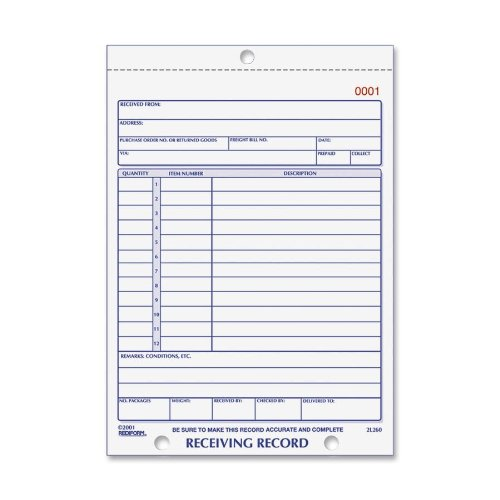 UPC 077925012609, Rediform Receiving Record, Carbonless Triplicate, 5.5 x 7.5 Inches, 50 Sets per Book (2L260)