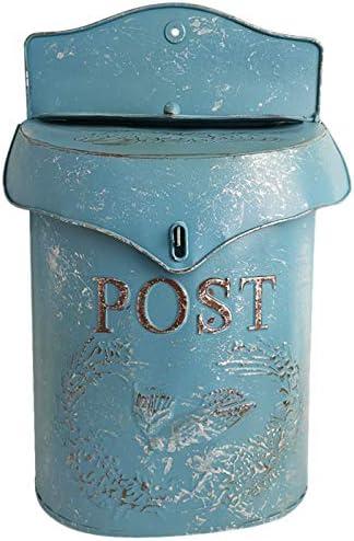 Cobeky Buz/ón de correo estilo europeo retro de hierro azul