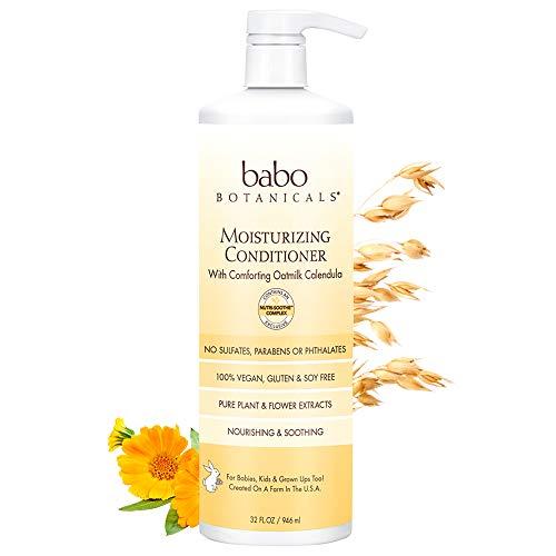Babo Botanicals Moisturizing Baby Conditioner, Yellow, Oat milk & Calendula, 32 Ounce ()