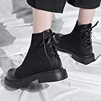 Proumy Botines de Mujer, Botas de tacón Plano de Moda Botas Cortas ...