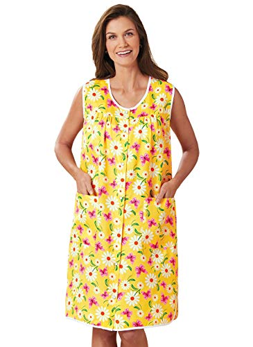 Snap Front Duster, Color Yellow Daisies, Size Extra Large (2X), Yellow Daisies, Size Extra Large (2X)