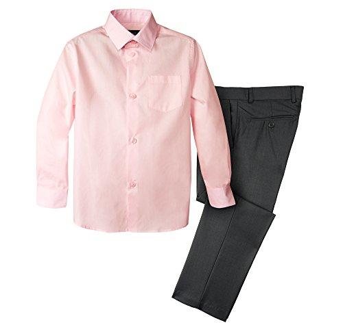 Light Charcoal - Spring Notion Boys' Dress Pants and Shirt 7 Charcoal/Light Pink