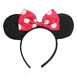Minnie Mouse Sparkled Ears, with Assorted Red or Pink Bow