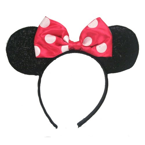Mickey Mouse Headband Ears - Minnie Mouse Sparkled Ears, with Assorted Red or Pink Bow