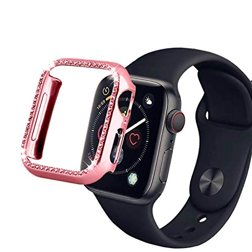 ⌚ Compatible for Apple Watch 4,Sport Bling Bling Diamond PC Case Fashion Design Shock-Proof Protective Frame Bumper Cover for Apple Watch 4 40mm/44mm ⌚ (Pink, 40mm)