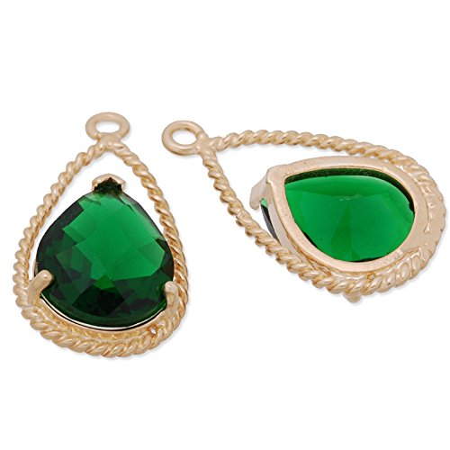 11.5x20mm Matte Gold Plated Frame Deep Green Color Faceted Glass Charms Pendant-5pcs