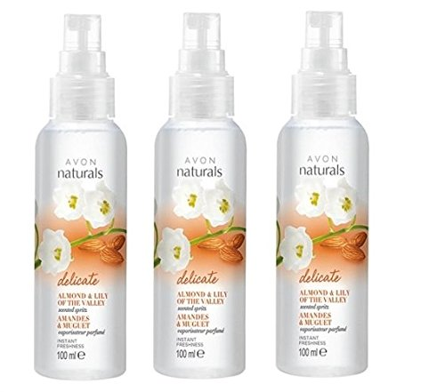 3 x Avon Naturals Almond & Lily of the Valley Scented Spritz 100ml