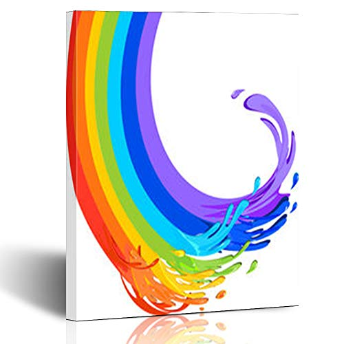 YeaSHARK Canvas Wall Art Print Depict Rainbow Form Creativity Flows Paint Acryl Appealing 8 x 10 Inches Stretched Wooden Painting Home Decor Bedroom Living Room Office