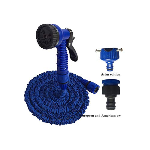 25-200FT Expandable Hot Flexible Garden Water Hose for Car Hose Pipe Plastic Hoses Garden Set to Watering with Spray Gun,100ft,Navy Blue (Spiral Wrap 1/4')