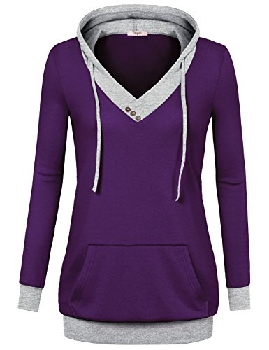 Timeson Tunic Sweatshirt, Women's V-Neck Long Sleeve Pullover Color Block Hoodies with Pocket Violet XX-Large