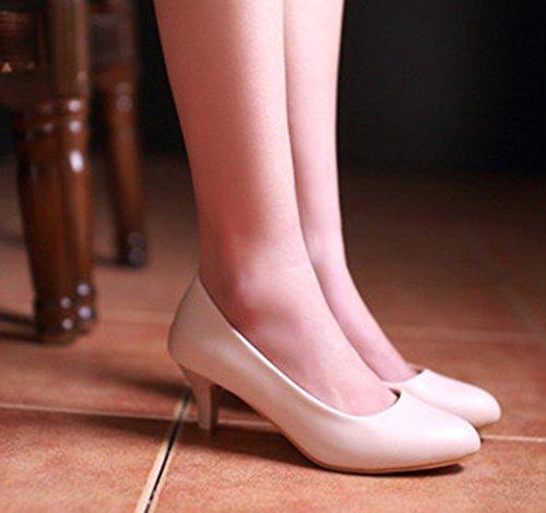 Aisun Womens Simple Dressy Slip On Kitten Heels Pumps Shoes Apricot C0Iywwb