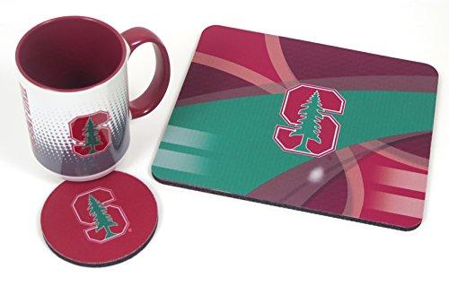 Stanford University Set. Includes Coffee Mug, Mouse pad, Coaster, 3 Pieces Set. (Mouse Coffee Pad Mug)