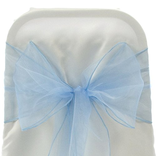 Firefly Imports Homeford Organza Chair Bows Sash, Light Blue, 9-Inch by 10-Feet ()