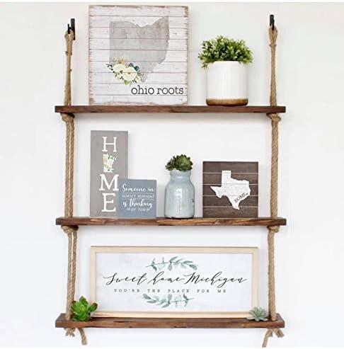 Rummy - Estantería de Cuerda con 3 estantes de Madera rústica para decoración del hogar