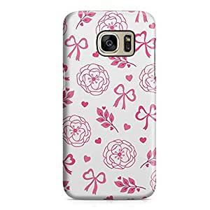 Samsung S7 Edge Case Pink Roses And Ribbon Pretty Valentine Pattern Hard Plastic Tough Samsung S7 Edge Cover Wrap Around