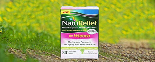 NatuRelief Natural Menstrual Cramp Relief Supplement - 30 Tablets for Cramps, Period Pain & Premenstrual Symptoms - Menstruation Remedy - Instant Relief Period Pills - Raspberry Flavor - Pack of 1