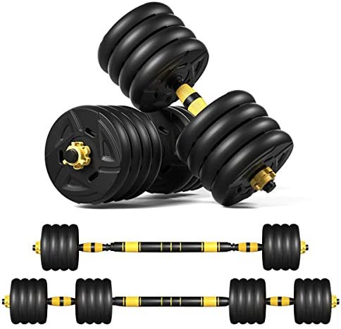 ER KANG Adjustable Fitness Dumbbells Set, 88lbs Free Weights Dumbbells with 19.7 Connecting Rod Used As Barbell for Home Gym, Workout, Whole Body Training, 2 Pieces/Set