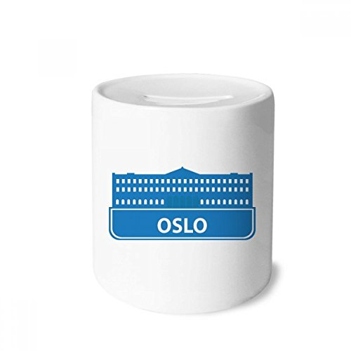DIYthinker Oslo Norway Blue Landmark Pattern Money Box Saving Banks Ceramic Coin Case Kids ()